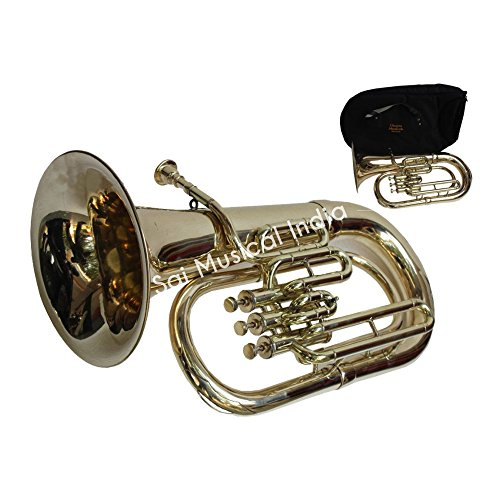 Queen Brass Stylish Euphonium 3 Valves Shinning Flat Brass Along With Mouth Peice MI 083 by Queen Brass