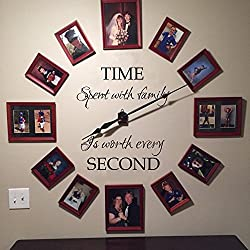 Time spent with family is worth every second wall decal family wall decal Time wall decal picture frame decal (34x29 Black)