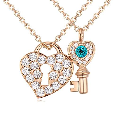 Lock Rhinestone Heart Necklace (Daesar Gold Plated Women's Lock Heart Key Necklace Rhinestone CZ Pendant Necklace)