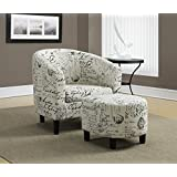 """Monarch Specialties I 8058 Vintage French Fabric Accent Chair and Ottoman, 30"""""""
