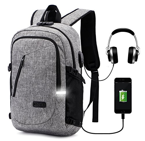 WSQIWNI Laptop Backpack, Business Anti Theft Laptop Backpack with USB Charging Port&Anti-Theft Lock&Headphone Jack, Business Water Resistant Polyester 15.6 Inch Laptop Bag Waterproof (Gray)