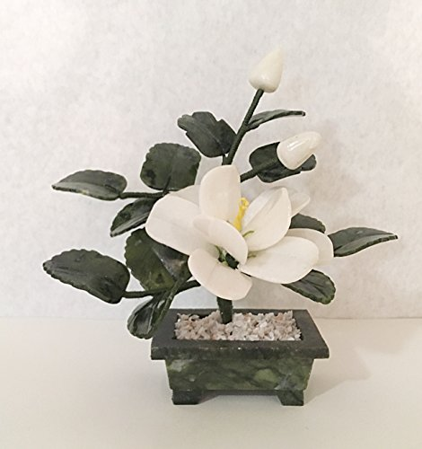 : 1 pc of handcrafted Jade and glass flower Bonsai Tea Tree and White Flower Basket