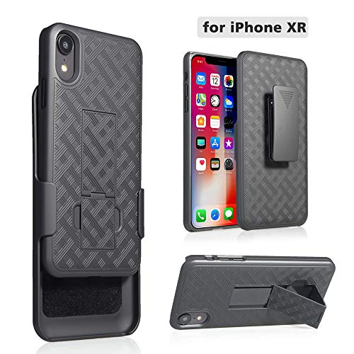 for Apple iPhone XR [2018 Release] Slim Armor Shell Swivel Hybrid Holster Defender Combo Case with Belt Clip & Kickstand for only iPhone XR ()