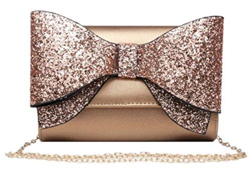 Clutch Bag Bow Girly Champagne Glitter HandBags Girly HandBags ZqT4B