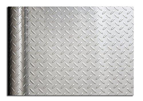 Metal Diamond Vinyl Liner - Resilia Diamond Plate Tool Box Liner 18 inch x 25 feet, Silver