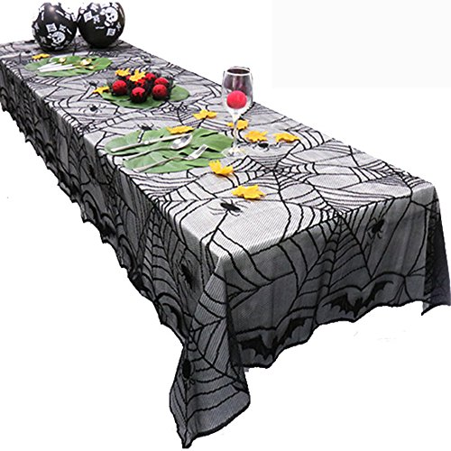 NewKelly Halloween Spider Round Web Tablecloth Topper Covers Fireplace Table Party Decor