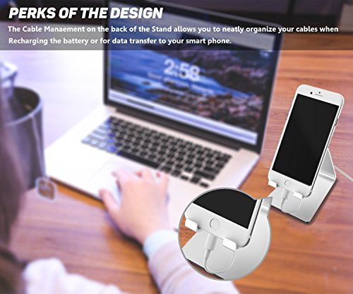 Adaker Cell Phone Stand,iPhone Dock,Desktop Cradle,Stand For Switch, All Android Smartphone,iPhone 6 6s 7 8 X Plus 5 5s 5c All-New Fire Tablet Charging, Phone Accessories Desk,Silver