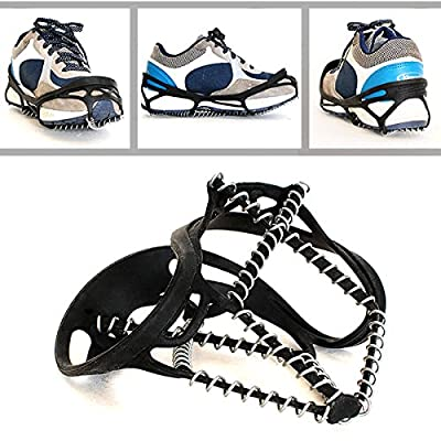 Freshday Non-slip Ice Gripper Climbing Crampons Traction Cleats, Shoes Cover for Walking, Jogging, Hiking on Snow and Ice (1 pair)