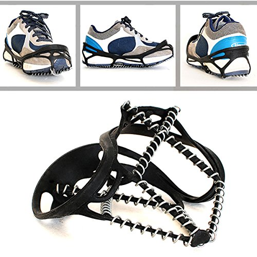 Freshday Non slip Ice Gripper Climbing Crampons Traction Cleats, Shoes Cover for Walking, Jogging, Hiking on Snow and Ice (1 pair)