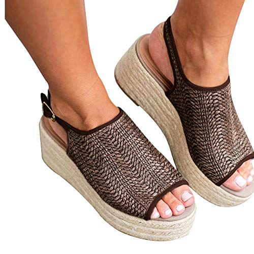 Athlefit Women's Espadrille Wedge Sandals Braided Jute Ankle Buckle Platform Summer Sandals Size 8 Jute-Brown