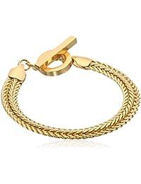 Classics Gold Tone Flat Chain Flex Bracelet, One Size