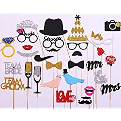 31-pieces Photo Booth Props For Wedding Party, Bridal Shower Photo Booth Props for Wedding Shower Party Supplies (Glued/No DIY Required)
