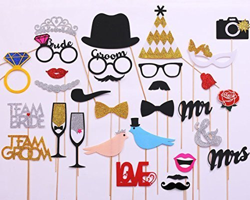 31-pieces Photo Booth Props For Wedding Party, Bridal Shower Photo Booth Props for Wedding Shower Party Supplies (Glued/No DIY -