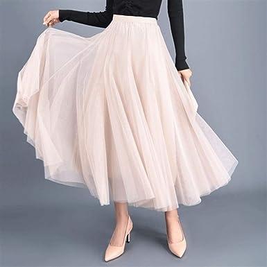 Haucalarm Falda de tul para mujer, hasta el tobillo, falda ...