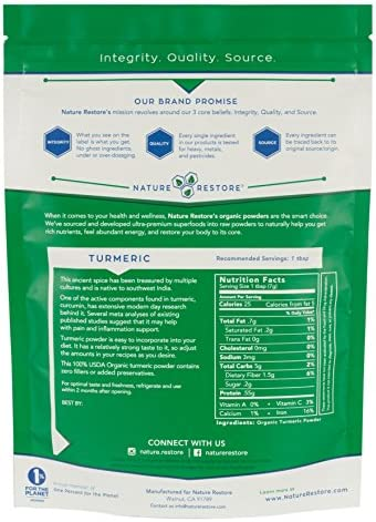 USDA Certified Organic Turmeric Powder with Natural Curcumin, Non-GMO and Gluten-Free 8 Ounces