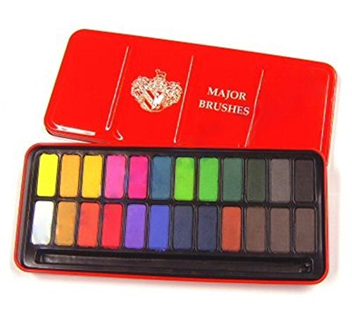 Major Brushes Watercolour Block Tin Set of 24 Colours by Major Brushes Z1003