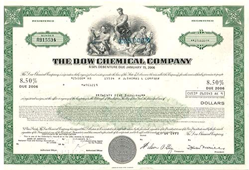 1977 SCARCE ORIG 70's $5000 DOW CHEMICAL BOND! BUY 2 GET $25,000, BUY 3 GET $100,000! $5000 ($25,000 and $100,000 Optional) Uncirculated