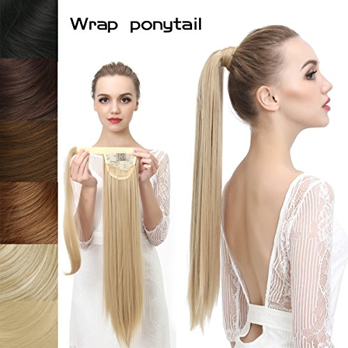 SARLA Women's 1Pc Straight Long Ponytail Hair Extensions Heat-Resisting Synthetic Ponytails Pony Tail Clip Hair Piece (16H613 Dirty Blonde)