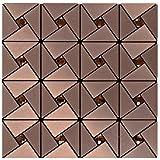 Peel and Stick Mosaics, Kitchen Tile for Backsplash 12x12 Inch, Brushed Aluminum- LSLCB02 (Box of 10.76 sq ft)