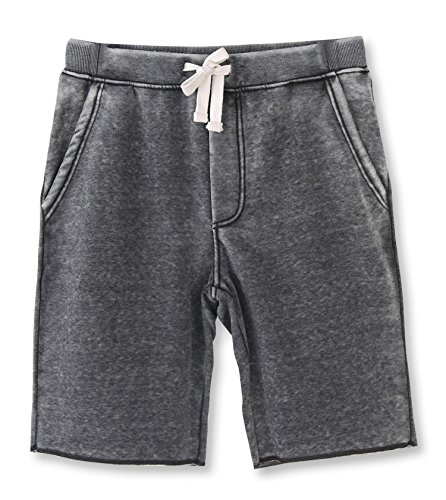 HETHCODE Men's Casual Classic Fit Cotton Elastic Fleece Jogger Gym Shorts Burnout Gray -