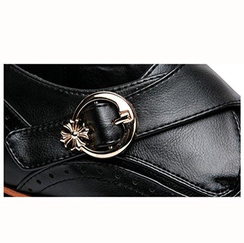 WZG Nuevos hombres señalaron los zapatos tallados zapatos de vestir de negocios Bullock alta calidad de los hombres de cuero de puntero Black