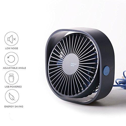 Liecho USB mini fan, Personal Table Desk Fan,Portable Air Circulator Fan, Noiseless Fan, 3 Speeds, 360° Rotating Adjustable, Powerful Fan for Home and Office(Blue) by Liecho