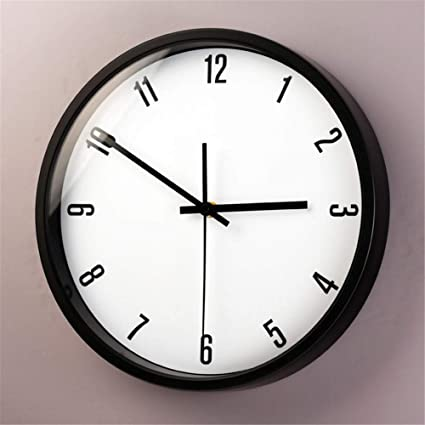 Silent wallclock dustproof Glass Cover Roman Nórdico creativo Simple Blanco y Negro gris Oscuro sala de