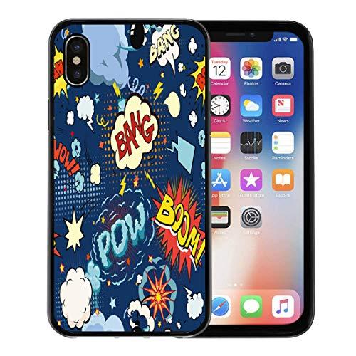 Semtomn Phone Case for Apple iPhone Xs case,Pattern Comic Book Speech Bubbles Effect Cartoon Graphic Pop Noise for iPhone X Case,Rubber Border Protective Case,Black