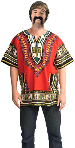 Music Man Play Costumes (Forum Novelties Men's Dashiki Costume Shirt, Red, Standard)