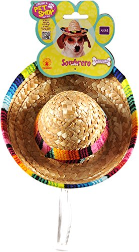Hat Pet Costume - Rubie's Pet Sombrero Hat with Multicolor Trim, Small/Medium