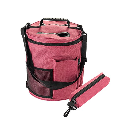 CO-Z 2PCS Portable Knitting Tote Bag, Large Storage Bag for Yarn Accessories, Easy to Carry Tote Organizer for Crochet Needles with Adjustable Belt