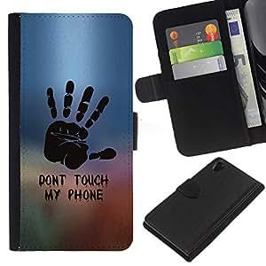 iBinBang / Flip Funda de Cuero Case Cover - NO TOQUE MI TELÉFONO - Sony Xperia Z2 D6502