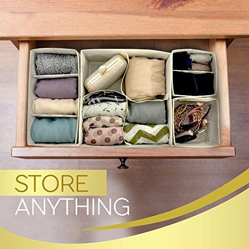 Premium Set Of 4 Organizer Bins With Dividers For Closet Dresser Drawer ...
