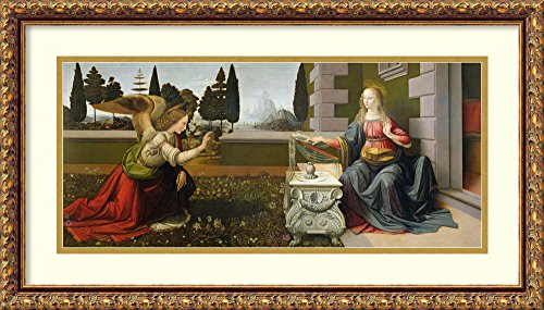 (Framed Wall Art Print | Home Wall Decor Art Prints | Annunciation, 1472-75 (Post-Restoration) by Leonardo da Vinci | Traditional Decor)