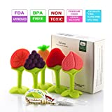 #7: Baby Teething Toys, Soft Silicone Natural BPA Free Fruit Teethers Set with Pacifier Clip/Holder for Toddlers & Infants (5 pack), Lideemo