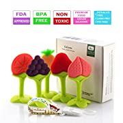 Baby Teething Toys, Soft Silicone Natural BPA Free Fruit Teethers Set with Pacifier Clip/Holder for Toddlers & Infants (5 pack), Lideemo