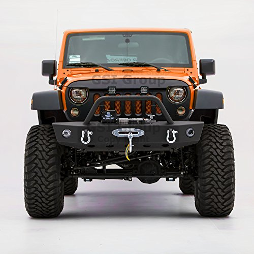GSI Textured Rock Crawler Front Bumper w/OE Fog Lights Hole & 2x D-Ring & Winch Plate for 07-18 Jeep Wrangler JK