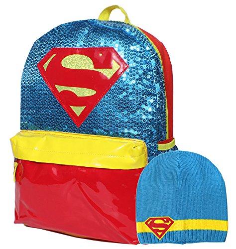 DC Comics Super Hero Girls Supergirl Sequin 16 Backpack and Beanie Set
