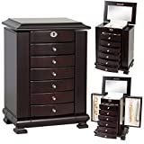 Best Choice Products Handcrafted Wooden Jewelry Box Organizer Wood Armoire Cabinet Storage Chest Espresso