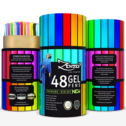 Gel Pens Set 48 Ink Colors with Case - Perfect for Adult Coloring Books Sketching Drawing Painting Writing - FREE Extra Gift (Ebook), Best Large Color Selection Glitter Metallic Classic Neon Milky