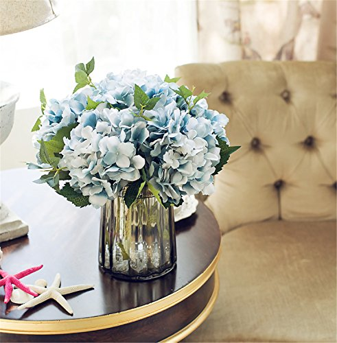 Hydrangea Centerpiece (Felice Arts Artificial Silk Flowers California Fake Beautiful Hydrangea Bouquet Flower for Home Wedding Decor, Pack of 3 (Blue))