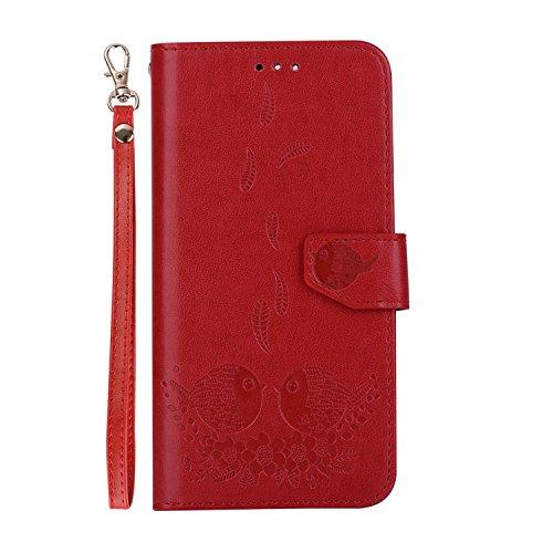 Wallet cuir support Flip Plus exquis étui relief de de cas pour fermeture magnétique protection carte Hozor téléphone fente avec motifs PU en Huawei P10 red avec PxqE77OC