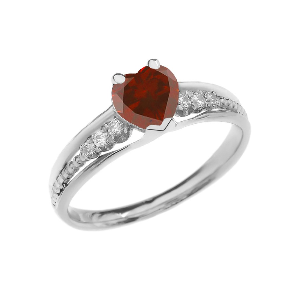 Dazzling 10k White Gold Diamond And Garnet Birthstone Heart Beaded Promise Ring (Size 9) by Dainty and Elegant Gold Rings