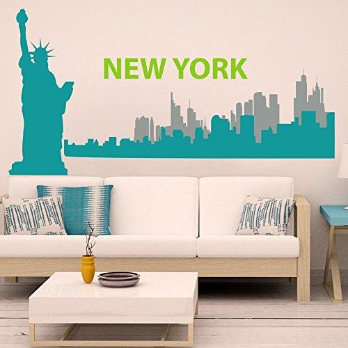 (Vinyl New York Wall Decal New York City Wall Sticker New York Skyline Wall Mural Wall Graphic Living Room Art Decor C(liberty:Teal;city1:Teal;city2:Slate Gray;words:Lime-tree Green))