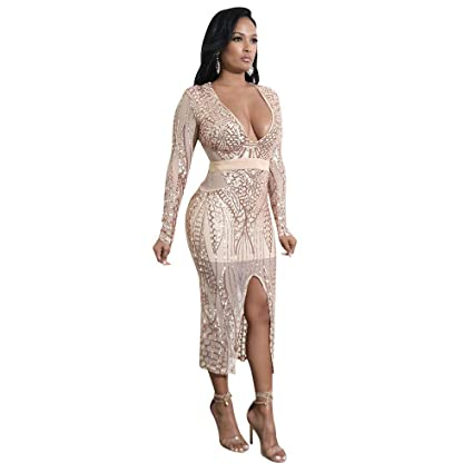 7eeb59c9a2 Vestito da donna Vestito paillettes scintillante da donna con scollo ...