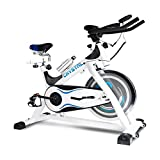 Indoor Exercise Cycling Bikes Spinning Bikes with LCD Monitor Trainer Bicycle Stationary Fitness Equipment Free Bottle and Non-slip Mat Included (white&blue)