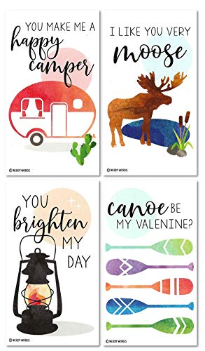 Mini Camping Moose Lantern Happy Camper Canoe Paddle Valentines (Set of 24 Wallet-Sized Cards) for Valentine's Day by Nerdy Words