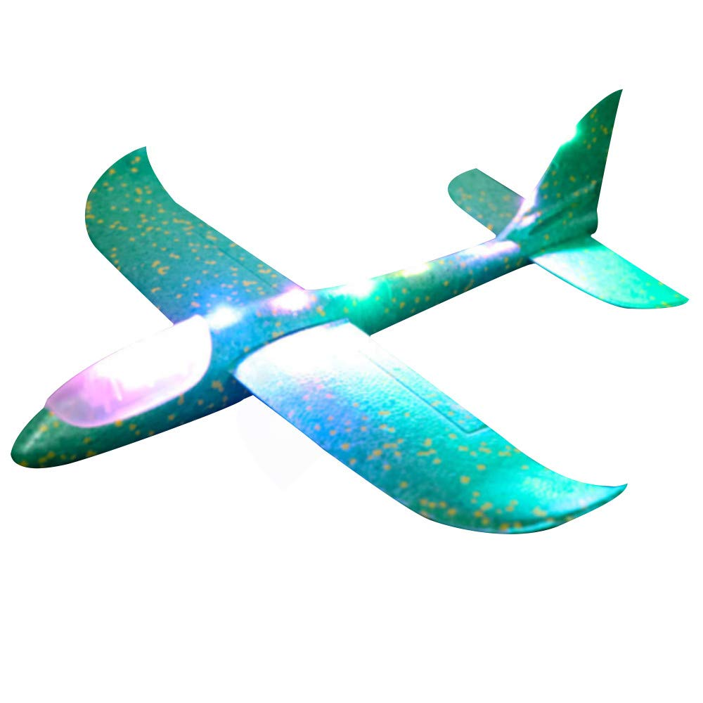 Kasien Throwing Foam Airplane Toys, LED Flying Glider Aircraft Toy Hand Launch Airplane Model Outdoor Sports Flying Toy for Kids as Gift (Green)