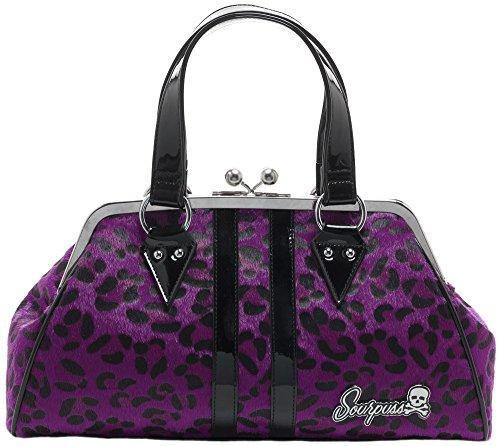 Sourpuss Temptress Purple Leopard Purse