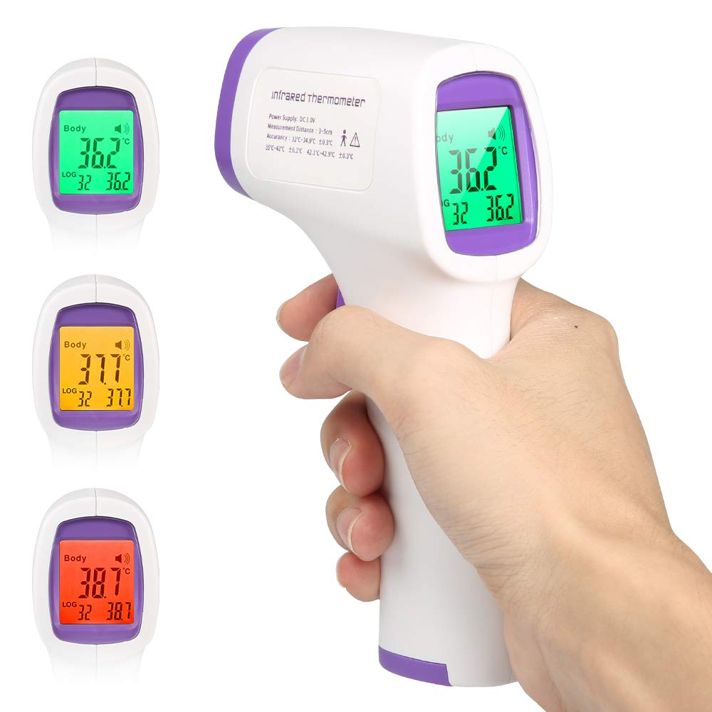 ANEAR Non-Contact Forehead Infrared Thermometer LCD Display Ear Smart Sensor Accurate Instant Reading Temperature Measure with Fever Alarm for Baby Kids Adult